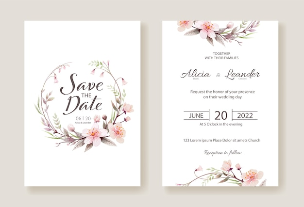 Cherry blossom flowers wedding invitation, save the date card template. Premium Vector