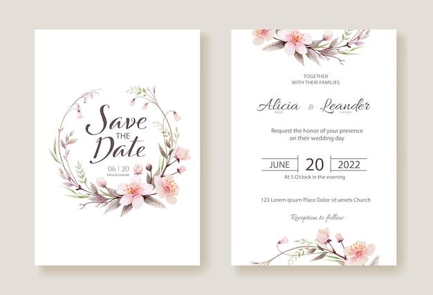Приглашение на свадьбу с цветами вишни, сохранить шаблон карты даты. Premium векторы