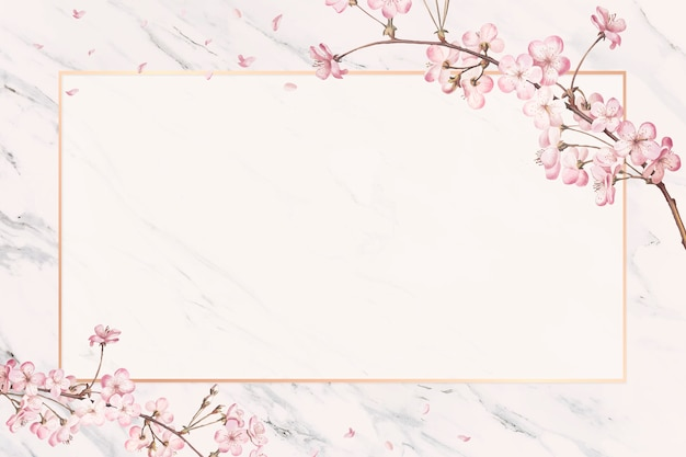 Cherry blossom frame card Free Vector