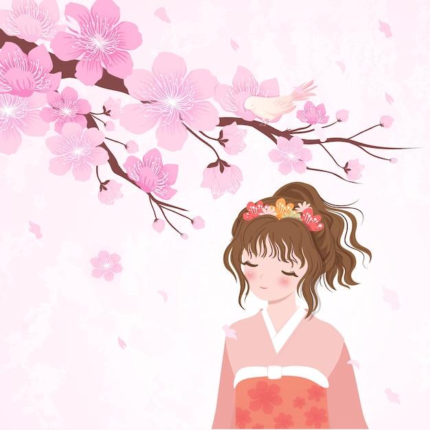 Cherry blossom japan girl in kimono Premium Vector
