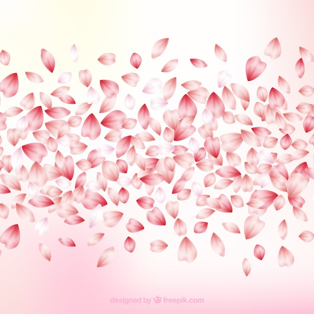 Cherry blossom leaves background Free Vector