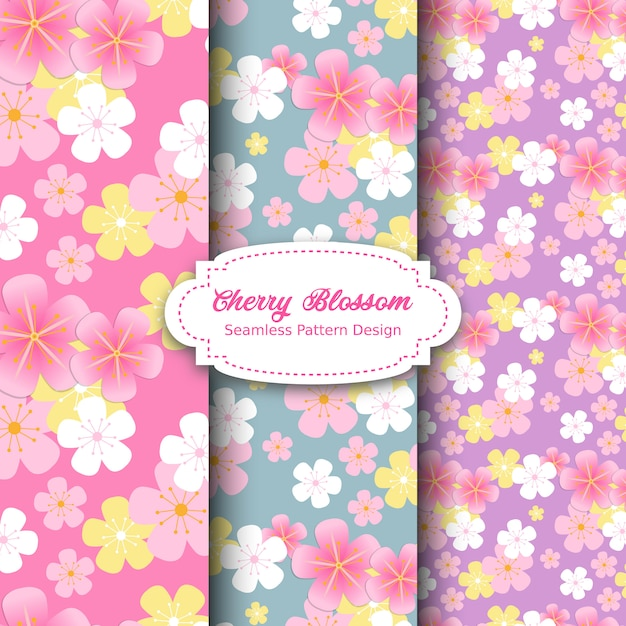 Cherry blossom pattern design in pink and purple Premium Vector
