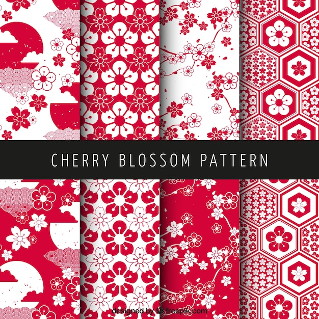 Cherry blossom patterns Free Vector