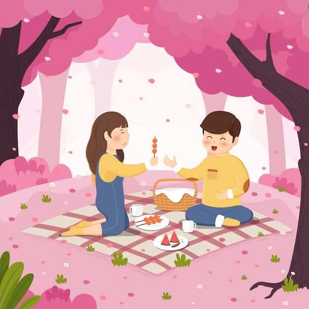 Cherry blossom picnic couple background Premium Vector