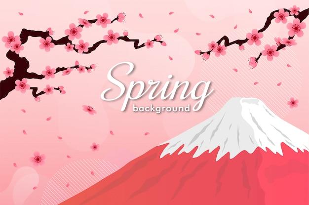 Cherry blossom . pink sakura fuji mountain spring background Premium Vector