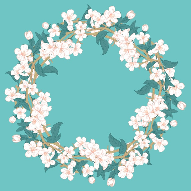Cherry blossom round pattern on blue turquoise background. Premium Vector
