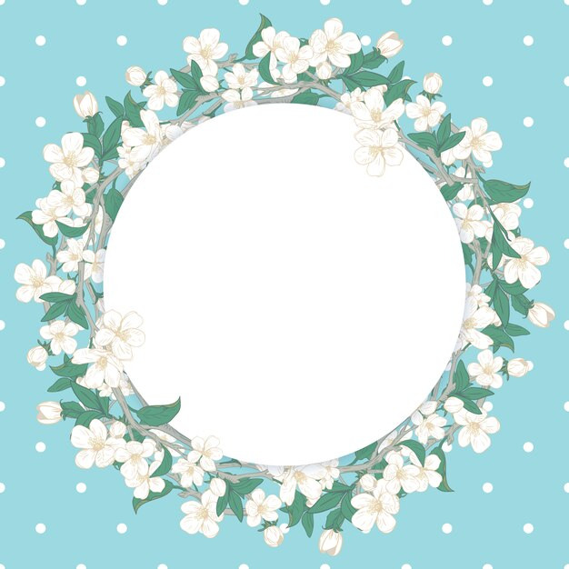 Cherry blossom round pattern Premium Vector