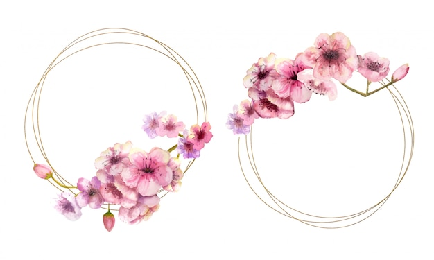 Cherry blossom, sakura branch with pink flowers on gold frame and isolated on white . image of spring. 2 frames with watercolor flowers.  illustration. Premium Vector