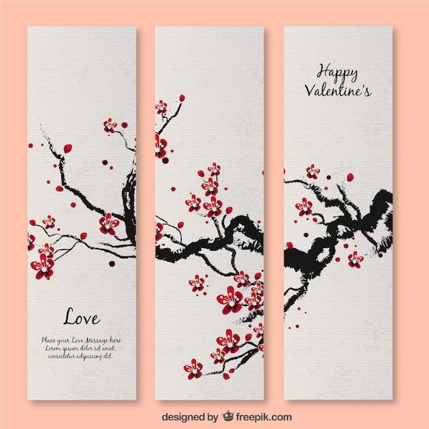 Cherry blossom valentine's card Premium Vector