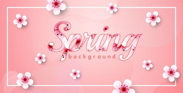 Cherry blossom vector frame. pink sakura spring background Premium Vector