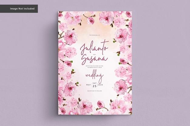 벚꽃 수채화 웨딩 카드 무료 벡터