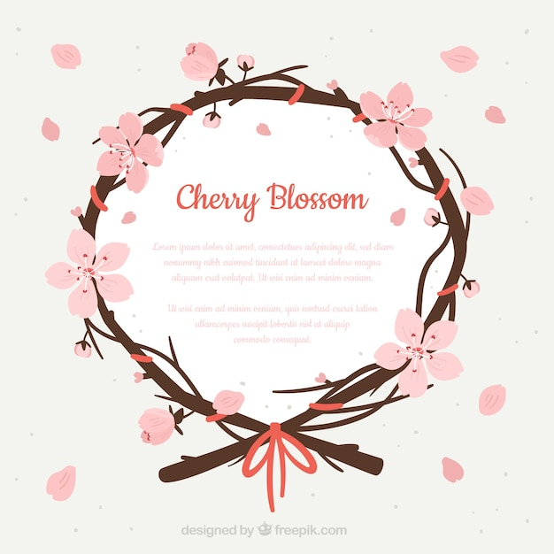 Cherry blossom wreath background Free Vector