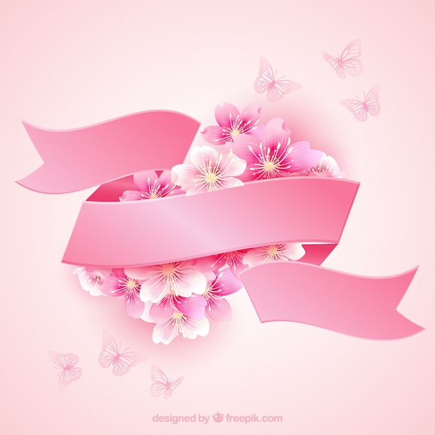 Cherry blossoms with a pink ribbon Free Vector