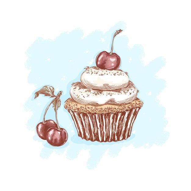 Вишневый торт со сливками и вишневыми ягодами. сладости и десерты. эскизный рисунок руки Premium векторы