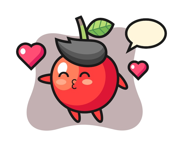Cherry character cartoon with kissing gesture, cute style design Premium Vector