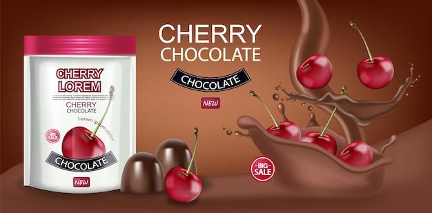 Cherry chocolate banner Premium Vector