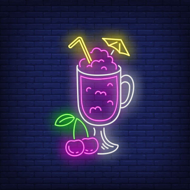 Cherry cocktail in glass neon sign. Free Vector