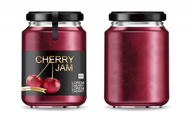 Cherry jam realistic Premium Vector
