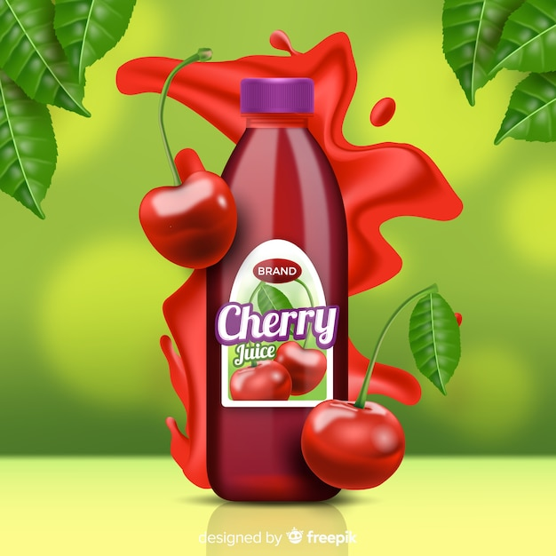 Cherry juice on abstract background Free Vector