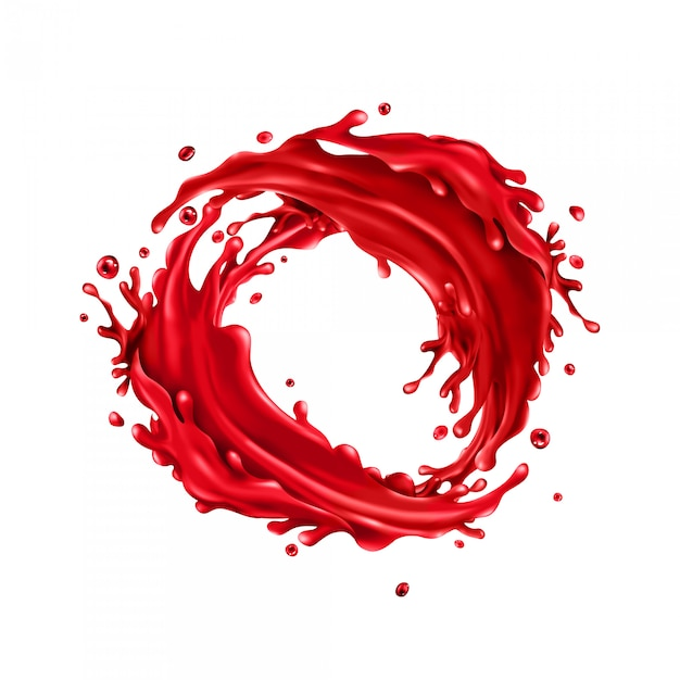 Cherry juice splashes circle on a white Premium Vector