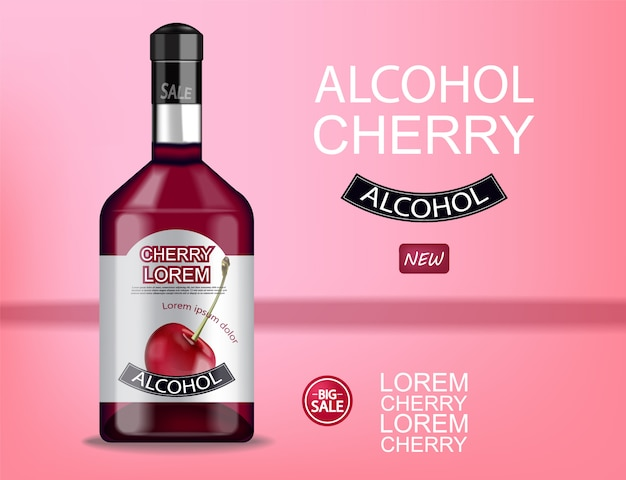 Cherry liquor bottle banner Premium Vector