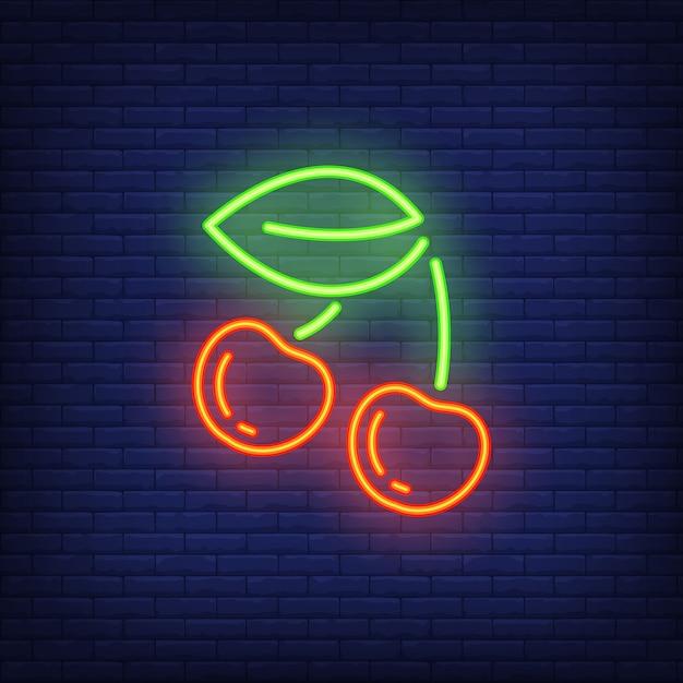 Elemento di segno al neon ciliegia. concetto di gioco per pubblicità luminosa di notte. Vettore gratuito