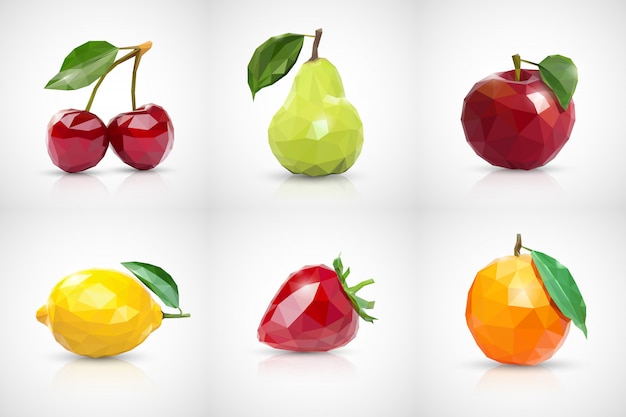 Cherry, pear, apple, lemon, strawberry and orange  in style of low poly Premium Vector