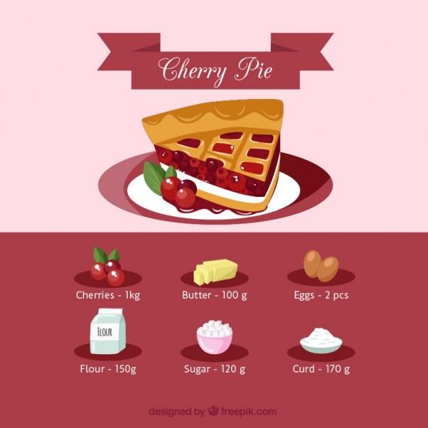 Cherry pie recipe vector free download cherry pie recipe free vector forumfinder Image collections