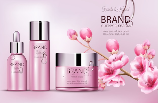 Cherry pink cosmetics brand. set of bottles with essence, face cream, lotion. product placement. cherry blossom. covered in dew. place for brand. realistic s Free Vector