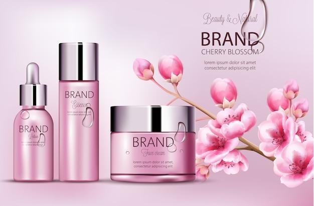 チェリーピンクのコスメブランド。エッセンス、フェイスクリーム、ローションのボトルのセット。製品の配置。桜の花。露に覆われています。ブランドのための場所。現実的な 無料ベクター
