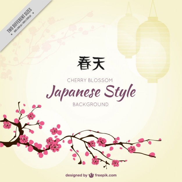 Cherry Tree Background In Japanese Style Vector Free Download