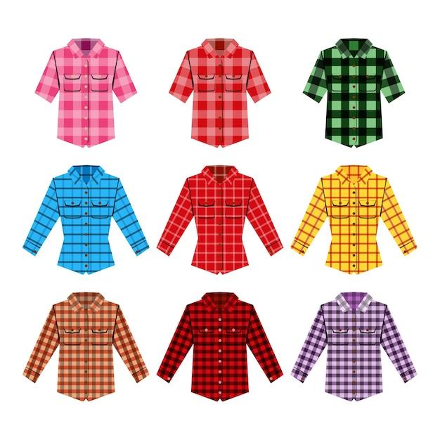 チェスカーシャツイラスト。 Premiumベクター