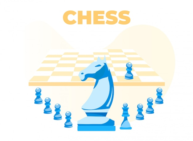 Chess banner with board Premium Vector