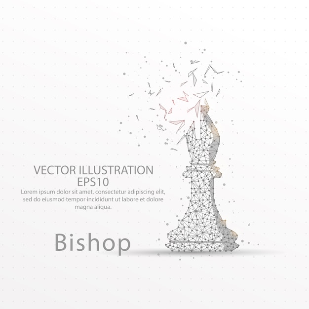 Chess bishop low poly wire frame. Premium Vector