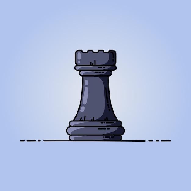 Chess black rook vector flat icon Premium Vector