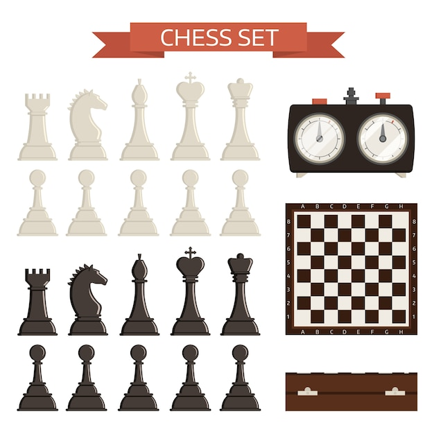 Chess board and chessmen isolated kit Premium Vector