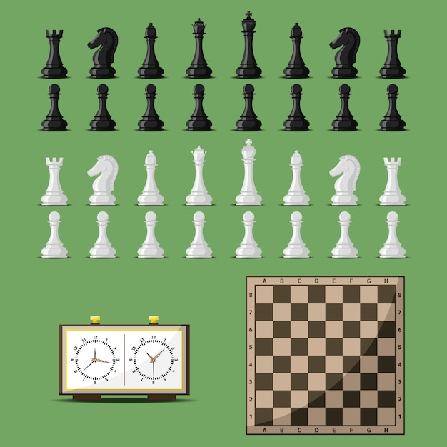 Chess board and chessmen vector. Premium Vector