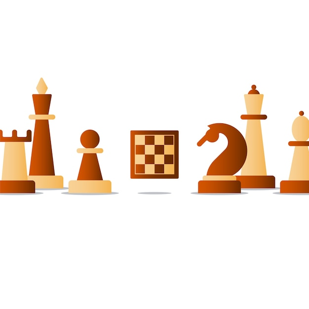 Chess board game, competition concept, knight icon, chess club illustration Premium Vector