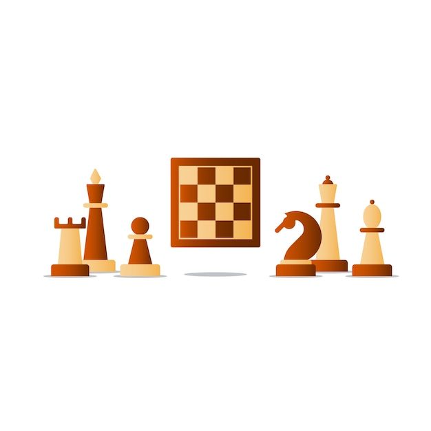 Chess board game, competition concept, Premium Vector