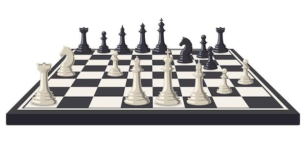 Chess board. logical, intellectual game chessboard, chess game black and white pieces Premium Vector