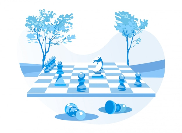 Chess board with chessmen over natural backdrop Premium Vector