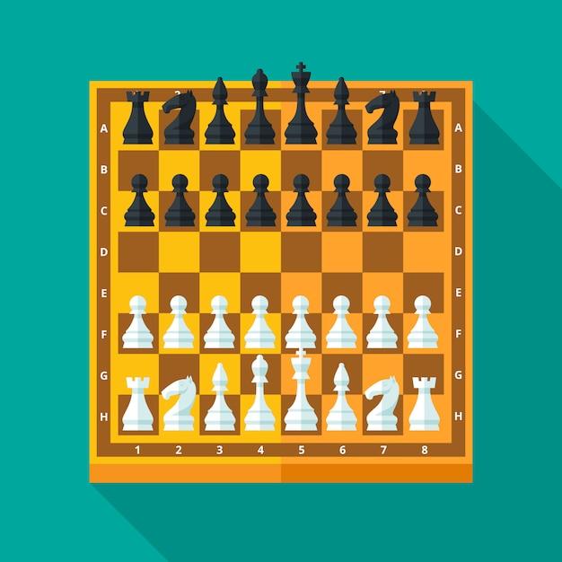 チェスの数字とボードは、コンセプトとwebのモダンなスタイルに設定します。図。 Premiumベクター