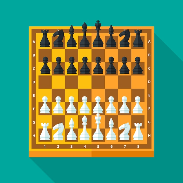 Chess figures and board set in  modern style for  concept and web .  illustration. Premium Vector