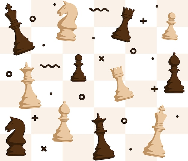 Chess figures seamless pattern on chessboard background Premium Vector
