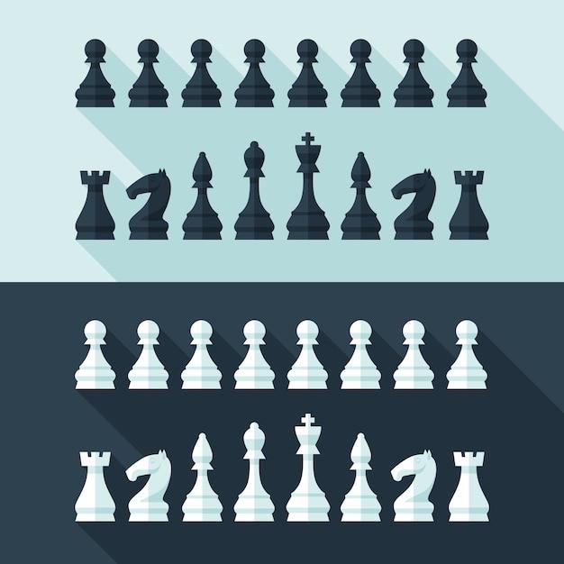 チェスの数字は、コンセプトとwebのモダンなスタイルに設定します。図。 Premiumベクター