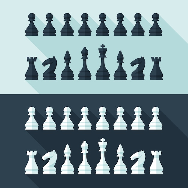 Chess figures set in  modern style for  concept and web .  illustration. Premium Vector