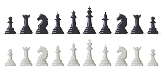 Chess game. black and white chess pieces, king, queen, bishop, rook, knight and pawn Premium Vector