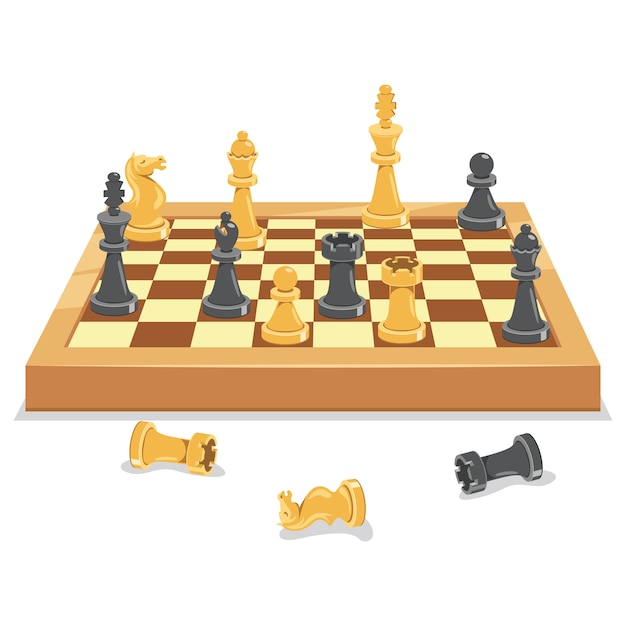 Chess game board and pieces Premium Vector