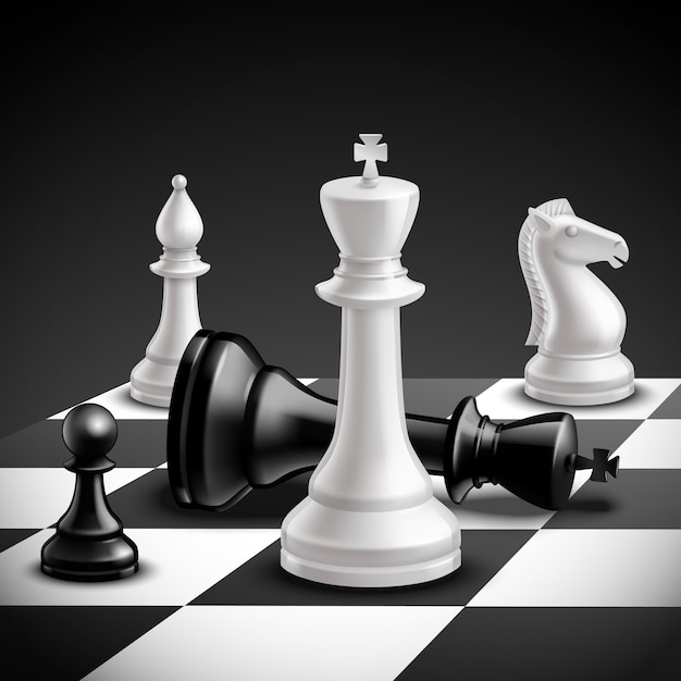 Chess game concept with realistic board and black and white pieces Free Vector