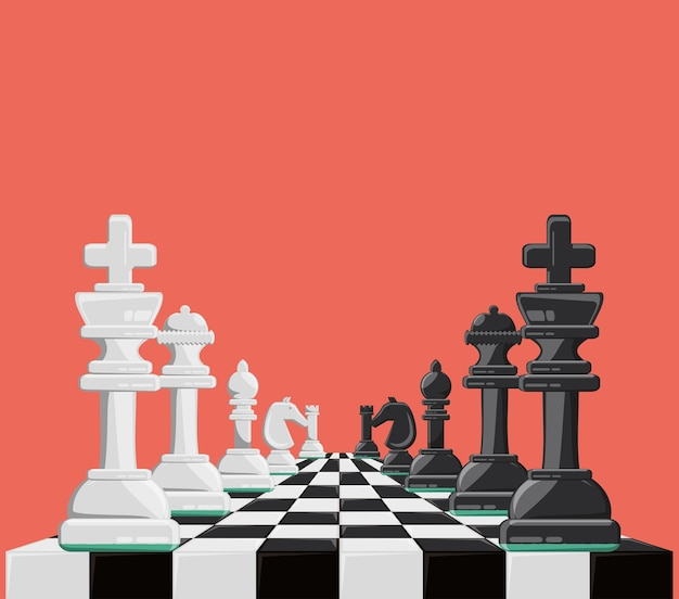 Chess game design with chess board and pieces Premium Vector